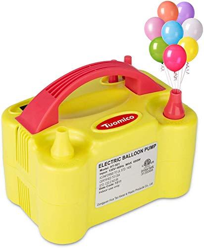 Tuomico Gonfleur Ballon Electrique Portatif Double de la Buse 600w Fonctionnement Automatiquement et Semi-Automatiqueent Gonfleur Electrique pour Le Décor de fête/Mariage avec EU Prise
