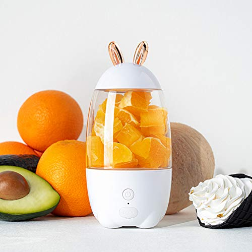 ZDNP Portable Blender, Personal Size Electric Fruit Mixer,330ml Fruit Mixing Machine with 2 Blades for Travel & Household, Rechargeable USB Juicer Mixer for Fruits and Vegetables,White