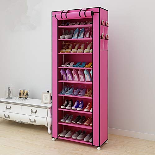 Hmg No Tejido Telas Grande Zapatero Zapatos Organizador de Almacenamiento extraíble Gabinete de Muebles for el hogar, Fila: Sola Fila (Negro) (Color : Rose Red)