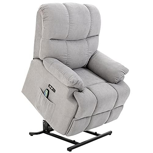 HOMCOM Massagesessel Aufstehhilfe elektrischer Relaxsessel mit Wärmefunktion Verstellbarer Winkel USB Fernbedienung Kurzplüsch Grau 83 x 95 x 105 cm