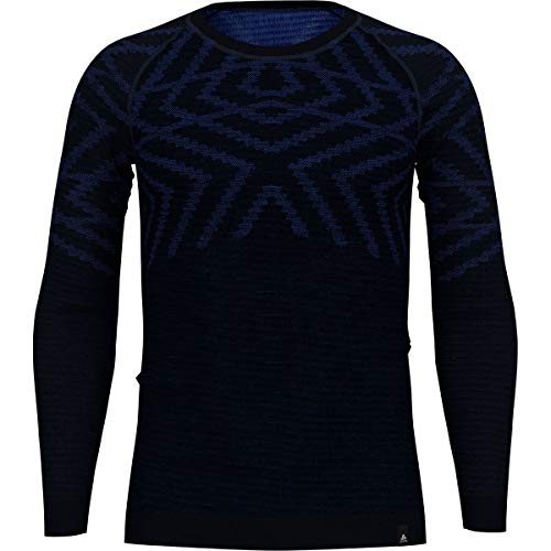 Odlo T-Shirt Chaud pour Homme BL Crew Neck L/S Natural + Kinship XXL Bleu Marine mélangé