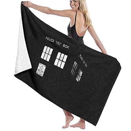 Tardis Monocromo Doctor Who Teléfono Caja de Teléfono Toallas de Playa Luz Ultra Absorbente Toalla de Baño de Microfibra Picnic Mat para Hombres Mujeres Niños