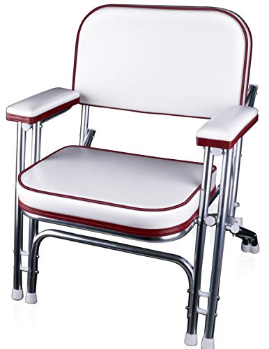 Leadpro Folding Deck Chair Boat Seat (Red/White)