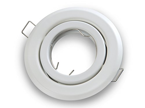 PREISHIT!!! 10-PACK Weiss Matt Einbau-Strahler Einbau-Spot Rund Schwenkbar GU10 /GU 5,3 / MR 16 Einbau-Leuchte (Weiss Matt, 10-er Pack) Led-Line Beta