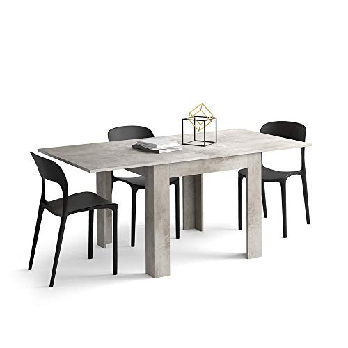 Mobili Fiver, Square extendable dining table, Eldorado, Grey Concrete, Laminate-finished, Made in Italy