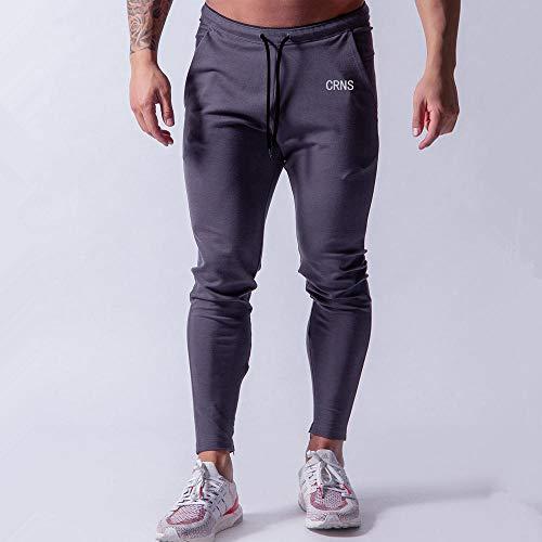 SHYSBV Nonchalante dunne broek, jogger, katoen, joggingbroek, mannen, gymzaal, fitness, workout, sportswear, broek, mannelijk trackpants M. marineblauw