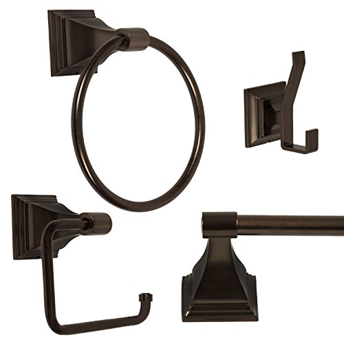 Wholesale Plumbing Supply 4 Piece Bathroom Hardware Accessories Set with 24-in. Towel Bar, Oil Rubbed Bronze