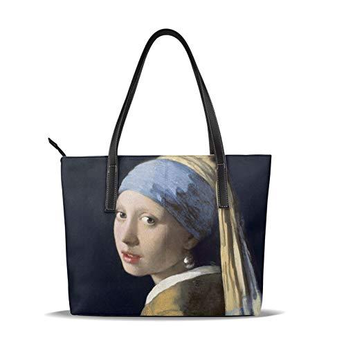 Un bolso de hombro de la pintura al óleo de los pendientes de la perla para las mujeres con salida diaria de la gran capacidad y compras de picnic