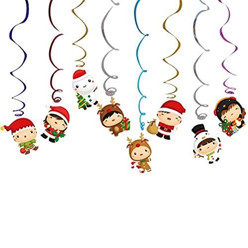 HTZ-M Adorable Navidad Colgante Remolino Colgante de Techo Colorido Muñeco de Nieve Serpentinas en Espiral Tarjeta Colgante Remolinos Decoraciones para Fiestas de Navidad Accesorios de diseño