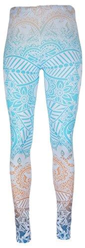 mygoodtime Leggings Sporthose Damen lang Weiß Hellblau Rosa Apricot Türkis Blumenmuster Muster inkl. Einkaufswagenchip