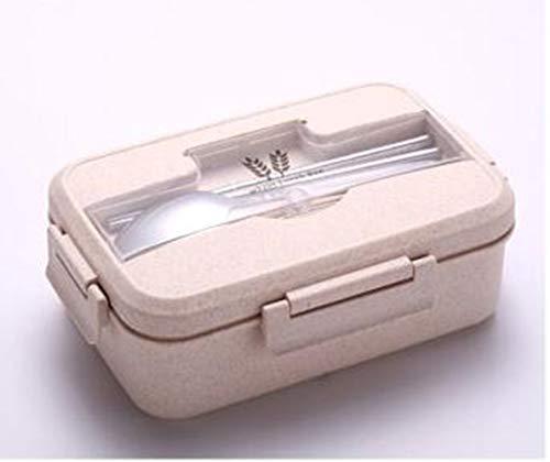 DDPP Juego de Fiambrera para niños, con Pajita de Trigo Natural, sin BPA, 3 Compartimentos, a Prueba de Fugas, contenedor de Comida,Rosado