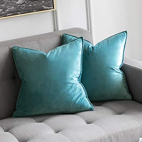 MIULEE Pack of 2 Velvet Soft Decorative Square Throw Pillow Case Flanges Cushion Covers Pillowcases for Livingroom Sofa Bedroom with Invisible Zipper 45cm x 45cm 18x18 Inch Set of Two Teal Blue