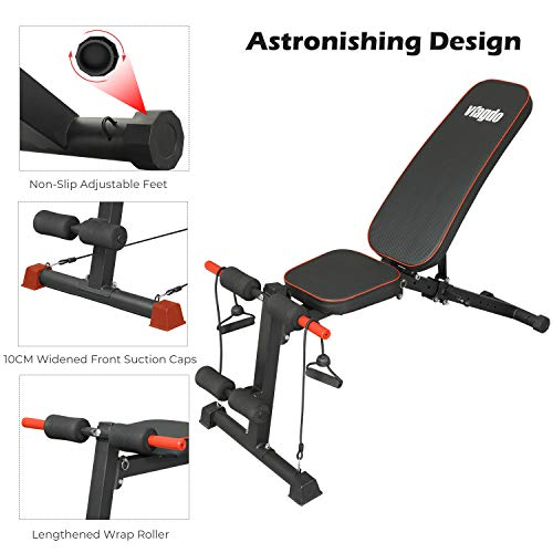 VIAGDO Adjustable Weight Bench Foldable Workout Bench Press for Home Gym, Multi-Purpose Exercise Bench Strength Training Equipment Bench, Flat/Incline/Decline Sit Up Bench for Full Body Workout
