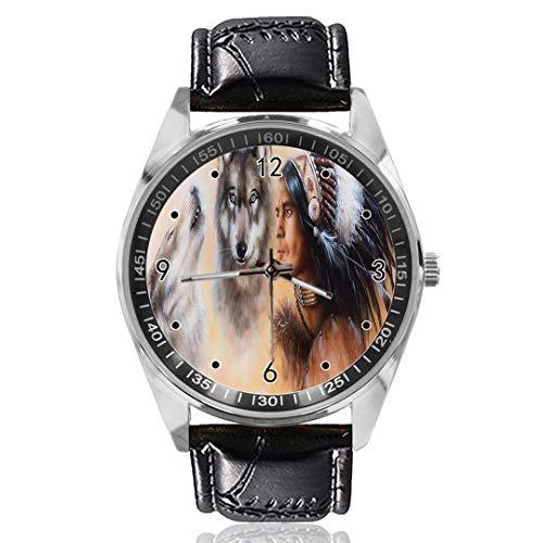 Reloj de Pulsera analógico de Cuarzo con diseño de Lobos de Hombre, Esfera Plateada, Correa de...