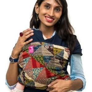 Anmol Baby Carrier Ergonomic Hybrid Wrap - 100% Cotton, Hands Free Carrier with Ergonomic M Position for Hiking Shopping Travelling Newborn to Toddler Stages - 0 Day to 24 Months (Indigo)