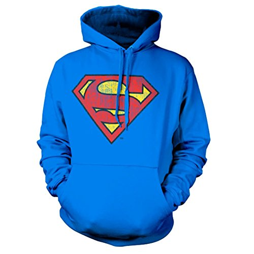 Classique Officiel Superman Lavé Porté Bouclier Chandail à Capuchon Capuche (Grand/Large)