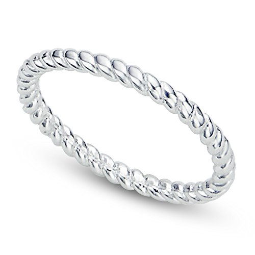 Metal Factory Sz 7 Sterling Silver 2MM Eternity Rope Wedding Band Ring