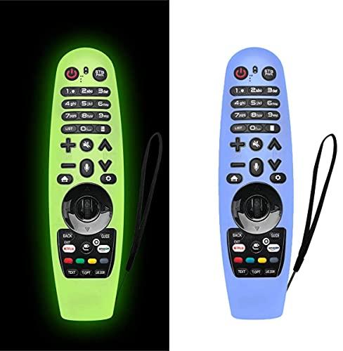 AIYAAIYA 2 PCS Estuche Protector Remote Control para LG Smart TV,Funda de Silicona para AN-MR600/ AN-MR650/ AN-MR18BA/ AN-MR19BA,Anticaída/Antideslizante/Rayado/Polvo/Impermeable (Verde + Azul)