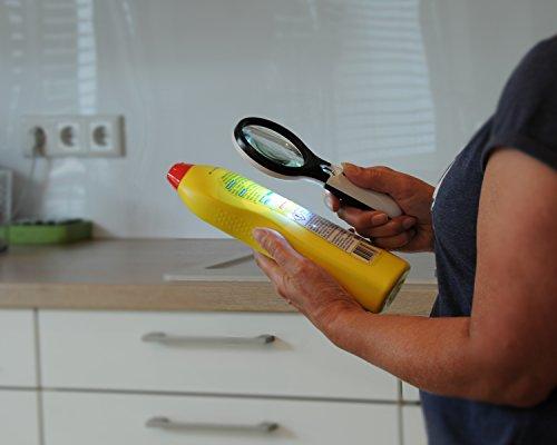 Profi Leselupe 6x Komplett-Set – Hochwertige LED Lupe mit Lese-Licht – 3x und 45x Vergrößerungsglas + Tasche inkl. Zubehör – für Senioren & zum Verschenken - 7
