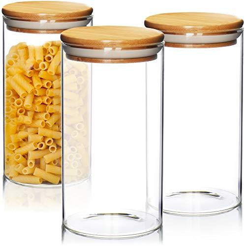 Robin Goods® 3x Vorratsdosen mit Bambus-Deckel, luftdichter Mehrweg-Glasbehälter aus Borosilikatglas, Vorratsgläser 1,3 Liter