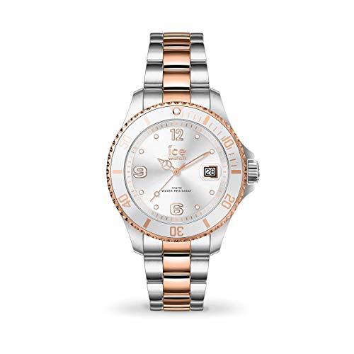 ICE-WATCH - ICE steel Silver rose-gold - Silbergraue Damenuhr mit Metallarmband - 017322 (Small)