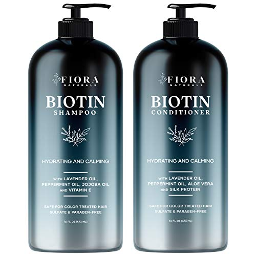 Fiora Naturals Biotin Shampoo and Conditioner Set- Thickening Shampoo for Hair Loss and Thinning Hair- Sulfate Free - for Men and Women
