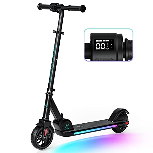Macwheel Electric Scooter for Kids Age 8+, Colorful Rainbow Lights, LED Display, 3 Level Adjustable Speeds and Heights, Foldable and Lightweight - E9 PRO