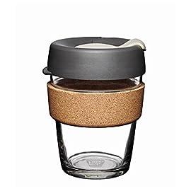 KeepCup 12oz Medium Glass Brew Reusable Coffee Cup, Cork, Press, 12 oz ,BPRE12