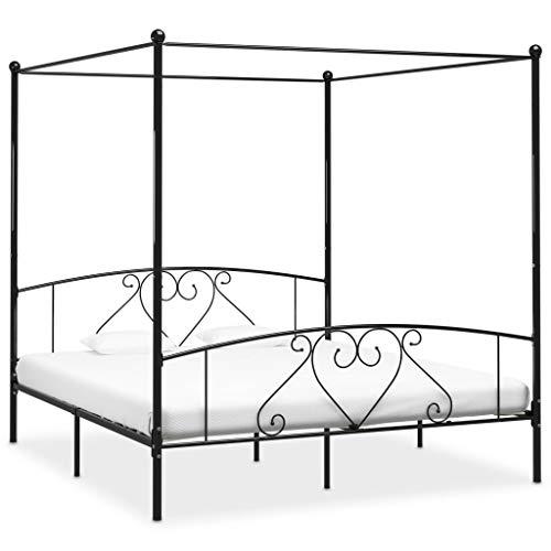 SKM Canopy Bed Frame Black Metal 6FT Super King