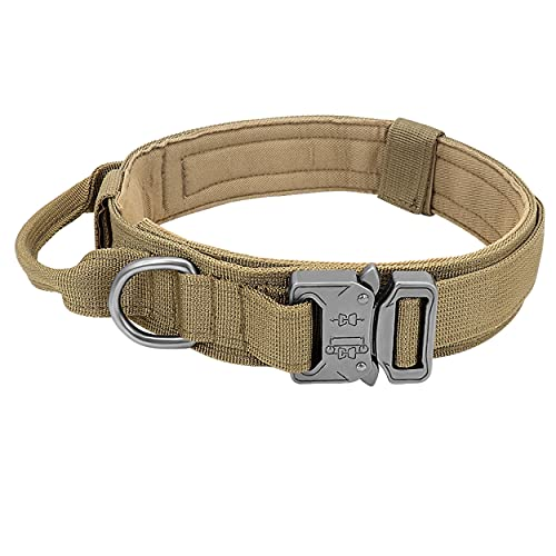 PET ARTIST Tactical Dog Collar with Control Handle - K9 Military Dog Collar with Heavy Duty Metal Buckle & D-Ring - 1.5' Width Adjustable Nylon Dog Collar for Medium and Large Dog Training,Khaki,M