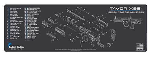 "EDOG Tavor X95 Bull Pup Cerus Gear Schematic (Exploded View) Heavy Duty Rifle Cleaning 12""x36"" Padded Gun-Work Surface Protector Mat Solvent & Oil Resistant"