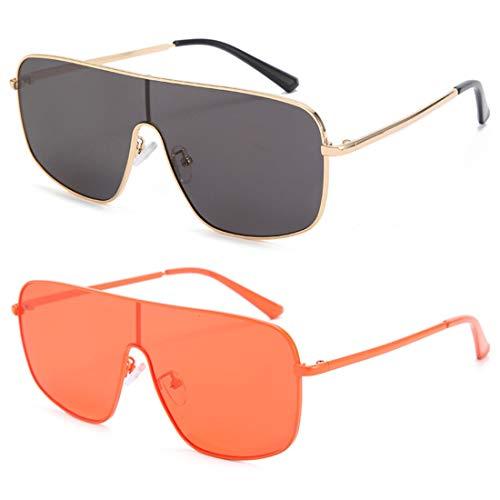 HFSKJ Paquete de 2 Gafas de Sol, Gafas de Sol de una Pieza, Gafas de Color Personalizadas, Gafas de Sol de Moda para Mujer,A