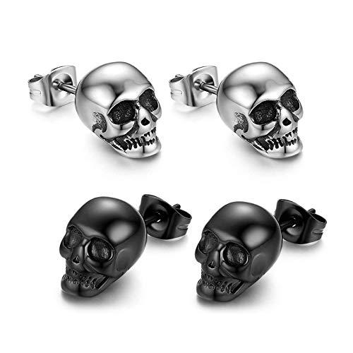 Calavera Piercing de oído Hombre Pendientes cráneo pendientes acero inoxidable Hip Hop Punk Jazz Pendientes Joyas para h(-)