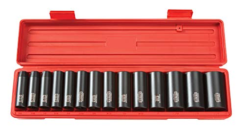 TEKTON 1/2 Inch Drive Deep 6-Point Impact Socket Set, 14-Piece (3/8-1-1/4 in.) | 4880