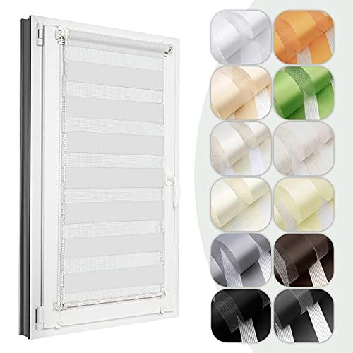 4dekor Doppelrollo für Fenster ohne Bohren nach maß, Breite 30-129 cm, 12 Farben, Klemmfix Montage Rollo, Duo Rollo, Fenster rollos für innen, Rollo ohne Bohren