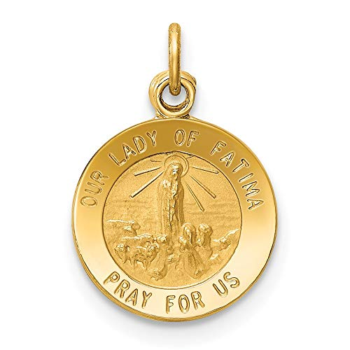 14k Yellow Gold Our Lady of Fatima Medal Charm Pendant
