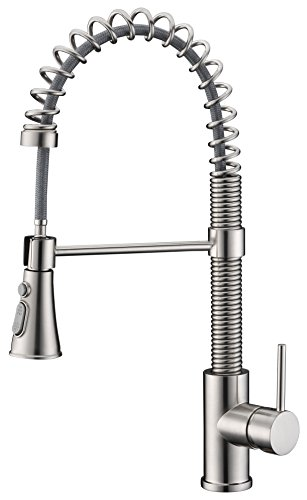 Kitchen Sink Faucets,Avola Lead Free Modern Kitchen Sink Faucets,Single Handle Pull Out Sprayer Spring Solid Brass Kitchen Faucets,Brushed Nickel