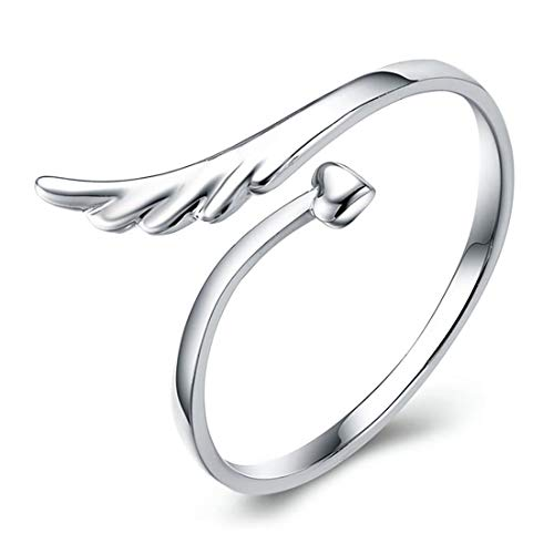 WUSUANED Open Adjustable Guardian Angel Wing Heart Finger Ring Fashion Exquisite Jewelry for Women (Angel Wing Ring)