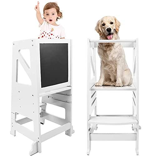 Dripex Lernturm für Kinder, Küchenhelfer Hocker mit Sicherheitsschiene & Kreidetafel, Verstellbarer Lernsthul Lernhocker Kleinkiner Stehturm, Weiß