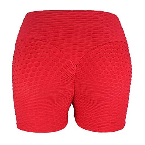 U/A Verano Corto Scrunch Gimnasio Cintura Alta Mujeres Pantalones Cortos Femme Fold Deporte Correr Fitness Rojo rosso M