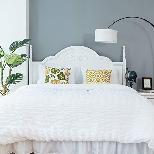 CHOSHOME Twin Duvet Cover Comforter White Bedding Set Farmhouse Seersucker Lightweight Sheets Pillow Corner Ties 3 Pcs