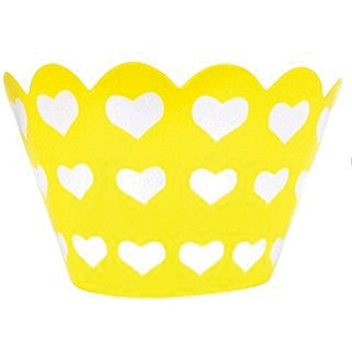 Just Artifacts Decorative Cupcake Paper Wrapper Muffin Holder - (40pc) Color: Lemon w/White Hearts - Decorations for Birthday Parties, Baby Showers, Weddings and Life Celebrations!