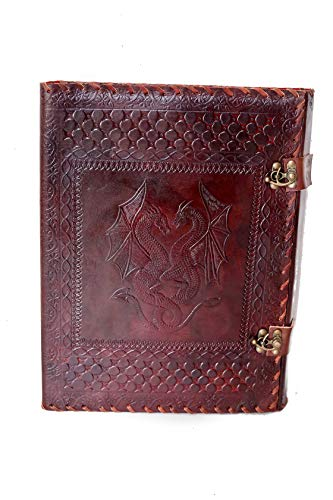Wellbourne Double Dragon Embossed Leather Padfolio for Holding Documents and Notepad - Leather Bound Folder 13 X 10