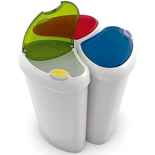 90 liter afval Recycling Wasserij Sorteren Plastic Bins Boxen + scharnierende Deksels! 2 Interlocking Opties - Geleverd met Stickers!
