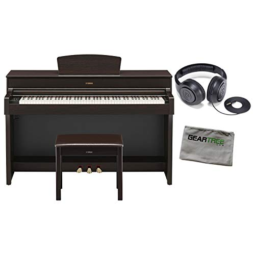 Yamaha YDP184R Dark Rosewood 88-Key Digital Piano w/Bench, Headphones, and Cloth