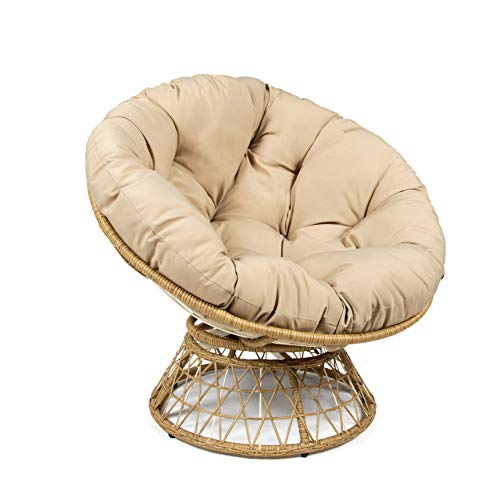 Milliard Papasan Chair with 360-degree Swivel, Tan Cushion and Wood Color Frame