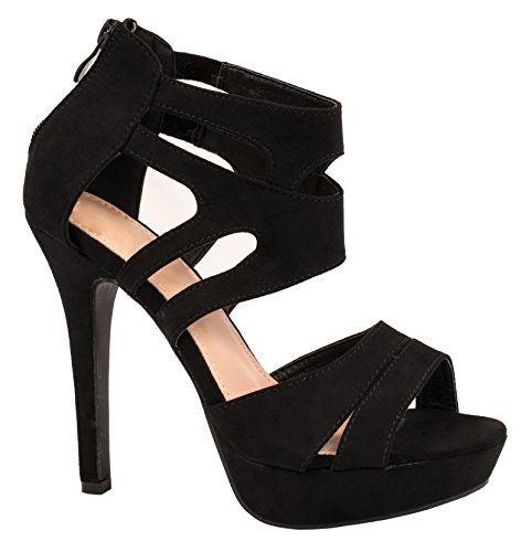 Elara Damen Pumps offen Stilettos High Heels chunkyrayan LL85-Schwarz-36