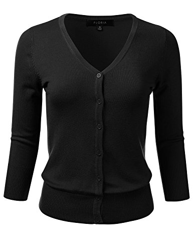 FLORIA Women's Button Down 3/4 Sleeve V-Neck Stretch Knit Cardigan Sweater Black L