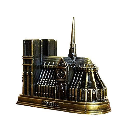 JJSFJH Modelo de Notre Dame wth de la construcción del Metal Artesanía Catedral Modelo Inicio Tienda de decoración Estatua