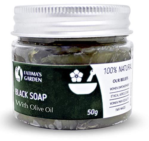 Schwarze Seife (Beldi-Seife) mit Olivenöl von Fatima's Garden - 100% natürliche marokkanische schwarze Seife, Körperpeeling, Peeling für das Hammam-Ritual -5.3oz-150gr